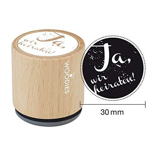 Woodies W03002 Stempel Ja, Wir Heiraten, Hout, 3.4 x 3.4 x 3.5 cm