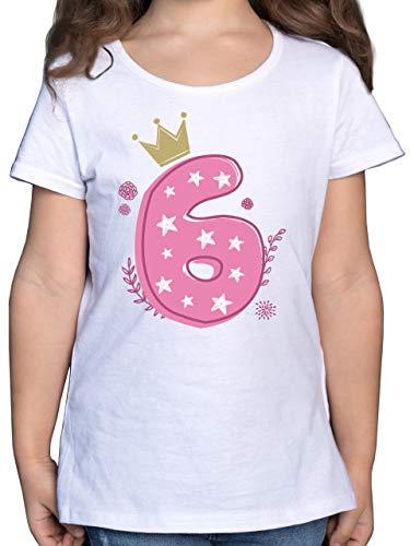 Kindergeburtstag Geschenk - 6. Geburtstag Mädchen Krone Sterne - 128 (7/8 Jahre) - Weiß - Shirt mit Zahl Kinder - F131K - Mädchen Kinder T-Shirt