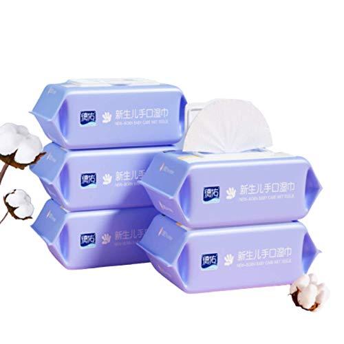 N-B Toallitas para la Boca y Las Manos para bebés y niños 80 toallitas húmedas Cinco Paquetes de Paquetes Familiares, toallitas para bebés