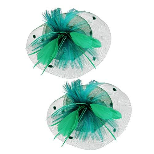 dailymall Mini-chapeau Haut De Plumes Pince à Cheveux Fascinateur Têtière De Noce Vert Foncé