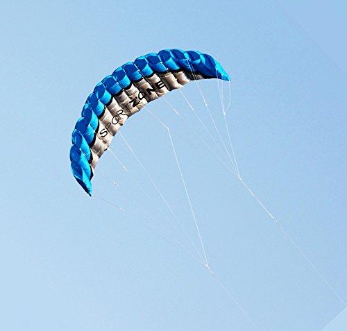 Kwasyo 2.5m Dual Line Stunt Sport Drachen mit Handgriff 30m String, Kitesurfen am Strand, Outdoor Park Garten Spiele Spaß … (Blau)