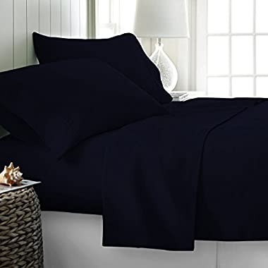 Thread Spread Hotel Collection 600 Thread Count Egyptian Cotton Sateen Full 4 Piece Sheet Set Navy Blue