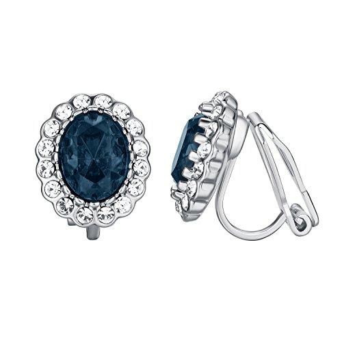 Yoursfs orecchini da donna blu a clip argento placcato pendente in zaffiro e cristallo come regalo anniversario matrimonio natale