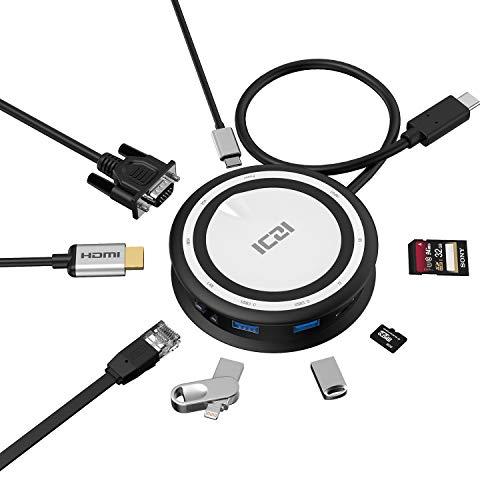 ICZI USB C Hub, 8-in-1 Multifunction Hub USB Type C Adapter, HDMI VGA Dual Display with Type C Charging Port, 2 USB 3.0 Ports, Ethernet Port, TF/SD Card Reader per HP Spectre X360 Altro