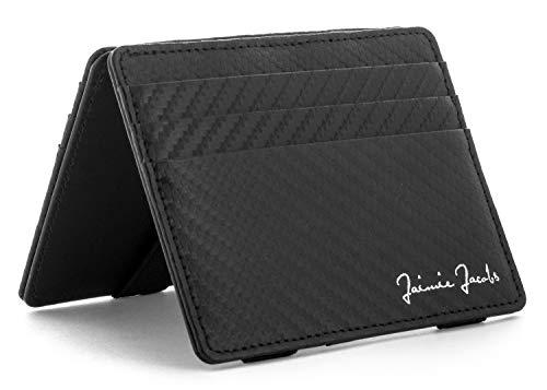 JAIMIE JACOBS Flap Boy Slim - Das Original - Magic Wallet ohne Münzfach integrierter RFID Schutz Magischer Geldbeutel Echtleder (Carbon)