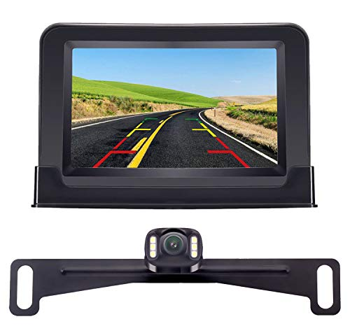 Amtifo Backup Camera For Cars,Pickups,Trucks,Easy Installation HD 720P High-Speed Observation System With 4.3 Inch Monitor,Adjustable Rear/Front View Camera,Super Night Vision,Guide Lines On/Off