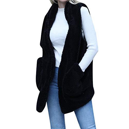 Lulupi Donna Cappotto Invernale Gilet di Pelliccia Giacca Donna Elagante Lana Cardigan Capispalla Senza Maniche Solido Cappotto Lungo