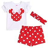 Disney Minnie Mouse Baby Girls T-Shirt Headband & Shorts Set 0-3 Months White/Red