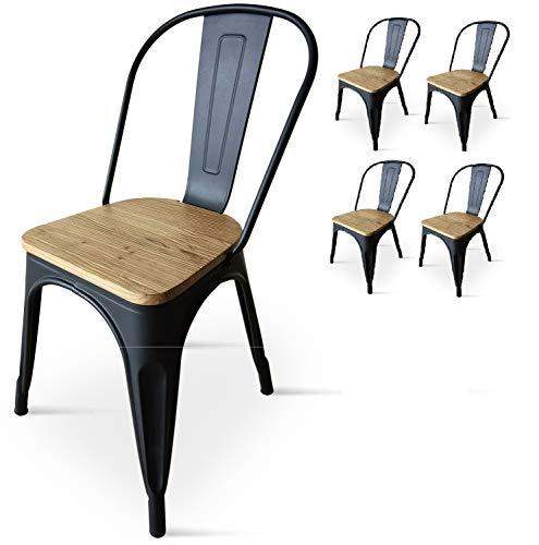 Kosmi - Lot de 4 Chaises Noires en métal et Bois Clair Style Industriel Factory en métal Noir Mat et Assise en Bois Clair