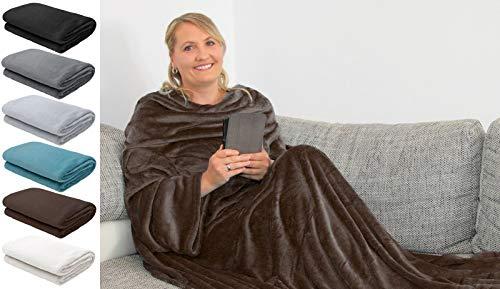 L.E.M.B. Hometrends Kuscheldecke mit Ärmeln TV Decke Sofadecke Ärmeldecke Wohndecke Fleecedecke Mikrofaser Strokkur 150 x 180 cm Dunkelbraun