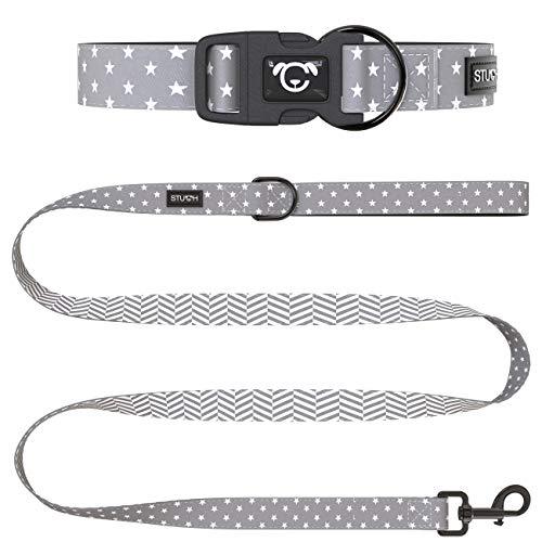 STUCH ® Hundeleine + Halsband Set - Duo Style - Verstellbares Hundehalsband aus Nylon - gepolsterte Handgriffe (M (32-46cm), Grau (Sterne))