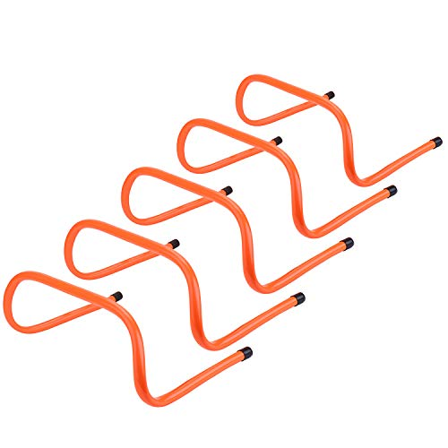 REEHUT 6 inch Speed Hurdles Set of 5 - Agility, Plyometric and All Purpose Speed Training Hurdle with Carry Handles (Orange)