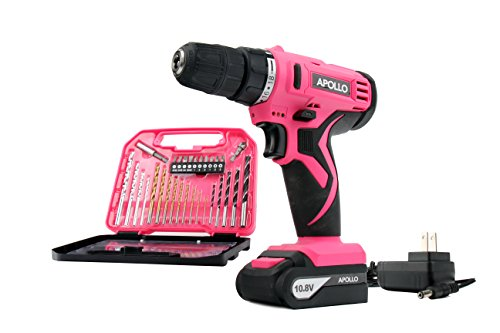 APOLLO TOOLS Powerful Lightweight Pink Cordless Drill, Lithium Ion Battery with 30-Piece Accessory Drill Bit Set - Pink Ribbon - DT4937P