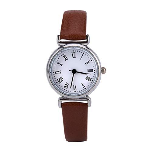Reloj de vestir para mujer, reloj de moda, mini reloj pequeño, reloj de vestir para dama, reloj de esfera redonda, reloj exquisito, reloj de pulsera de cuero retro(Plato blanco cinturón marrón)