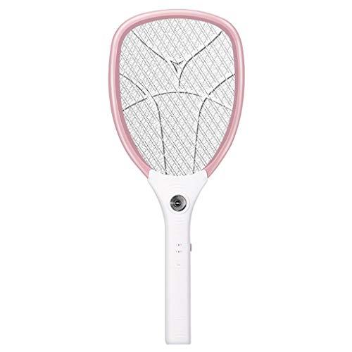 Raqueta de mosquitos eléctrica 3000 V USB 1200 mAh recargable insectos, matamoscas As Picture Show rosa