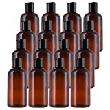 Bekith 16 Pack 8oz Plastic Squeeze Bottles with Disc Cap, Clear Travel Containers For Shampoo, Lotions, Liquid Body Soap, Creams