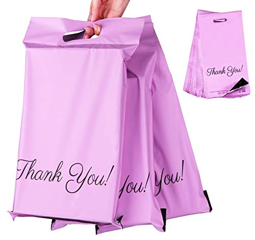 """60pcs Sacs Plastique pour Courrier 25 x 35cm+5cm+6cm,Sacs D'expédition """"Thank you"""" Fourre-tout Enveloppes Postales,Etanche et Résistant à L'humidité pour L'emballage,Stockage,Shopping-Violet"""