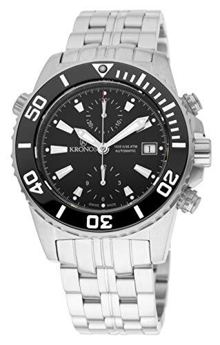 KRONOS - K300 Automatic Ceramic Black 736N2.855 CHR - Reloj Diver de Caballero automático, Brazalete de Acero, Color Esfera: Negra