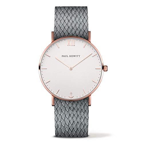 Paul Hewitt Unisex Erwachsene Analog Quarz Uhr mit Nylon Armband PH-SA-R-St-W-18S