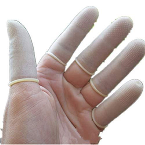 Fingerhülle - 100 Stück - Gummi Latex - wasserdichte - Fingerschutz - rutschfest Fingesleeves für Geschirrspülen, Äste Beschneiden, Seite umblättern (S, Weiß)