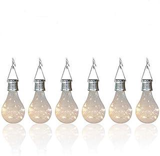 pearlstar Solar Light Bulbs Outdoor Waterproof Garden Camping Hanging LED Light Lamp Bulb Globe Hanging Lights for Home Ya...