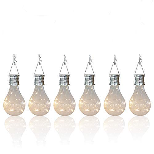 pearlstar Solar Light Bulbs Outdoor Waterproof Garden Camping Hanging LED Light Lamp Bulb Globe Hanging Lights for Home Yard Christmas Party Holiday Decorations (6 Pack-Clear Bulbs)