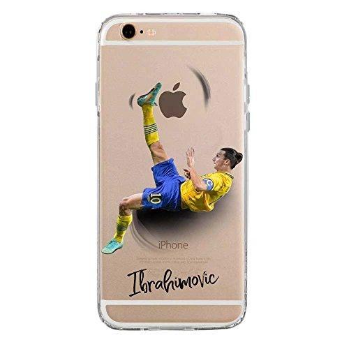IP6 6S Cover TPU Gel Trasparente Morbida Custodia Protettiva, Soccer Collection, Zlatan Ibrahimovic, iPhone 6 6S