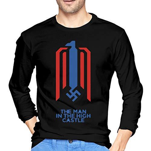 Linunang Komfortable Herren Langarm Raglan T-Shirts Einzigartiger Druck mit dem Man In The High Castle Logo XXL