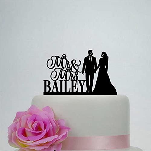 Decoración de pastel de acrílico para boda con máscara para tarta de novia y novio