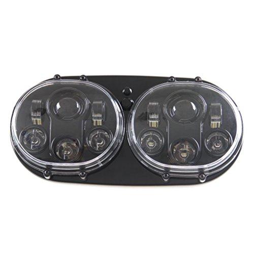 Phare Double LED 17,8cm Projecteur avant 7 pouces lampe halogène pour moto (1 lot,noir)