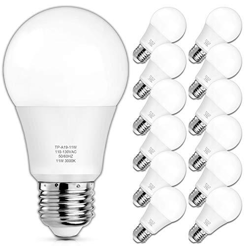 A19 LED Light Bulbs, 100 Watt Equivalent LED Bulbs, 3000K Soft White, 1100 Lumens, Standard E26 Medium Screw Base, CRI 85+, 25000+ Hours Lifespan, No Flicker, Non-Dimmable, Pack of 12