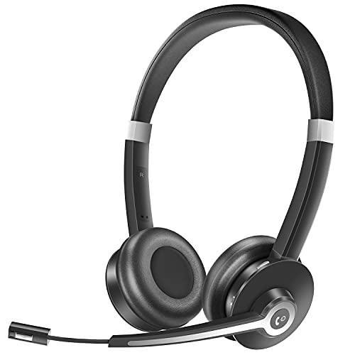 YUWAKAYI Cuffie Bluetooth con Microfono e Cancellazione Del Rumore Esterno, V5.0, Auricolari Wireless per Laptop, Tablet, Telefono Cellulare, Call Center, Ufficio, Riunioni, Lezioni Online