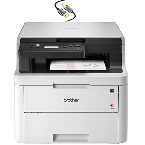 Brother HL-L3290CDWB Compact Digital LED Color All-in-One Laser Printer for Home Office with Convenient Flatbed Copy & Scan, Plus Wireless Duplex Printing, 25 ppm, 600x2400 dpi - Tillsiy Printer Cable