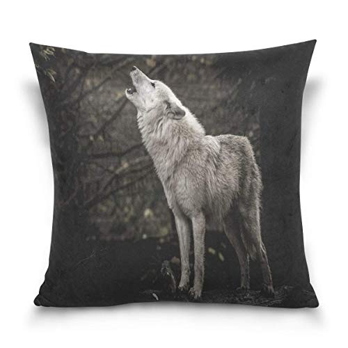lucies Throw Pillow Case Decorative Cushion Cover Square Pillowcase, Howling Wolf Landscape Nature Scenery Night Forest Tree Sofa Bed Pillow Case Cover(18x18inch) Twin Sides