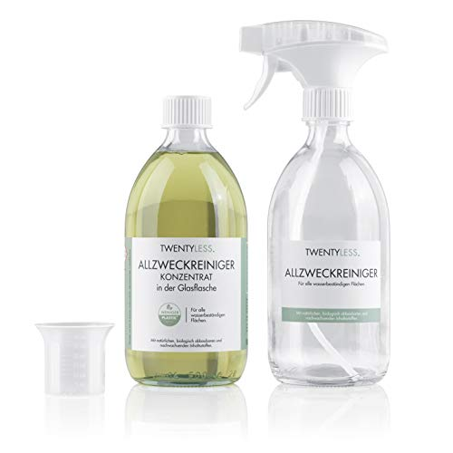 Twentyless Allzweckreiniger Starter-Set   Natürliches und ergiebiges Reinigungsmittel als Reinigungskonzentrat   1 Glasflasche (500ml) ersetzt 20 Plastikflaschen