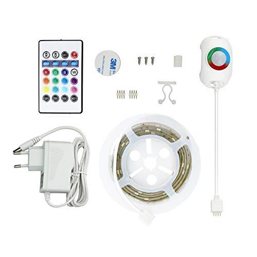 RGB LED Nachtlicht mit Bewegungsmelder, 1.5 m Länge Bettlicht mit Fernbedienung Timer und Dimmer, Farbwechsel Lichtband selbstklebend Bewegungsmelder Steckdose