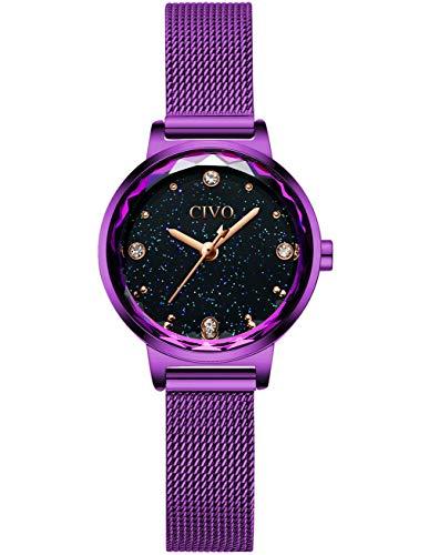 CIVO Relojes para Mujer Reloj Damas de Malla Impermeable Silm Violeta Elegante Banda de Acero Inoxidable Relojes de Pulsera Moda Vestir Negocio Casual Reloj de Cuarzo