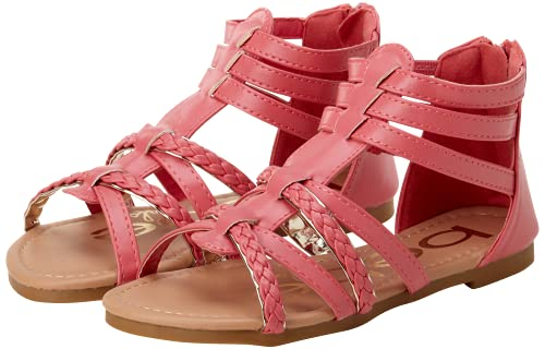 bebe Girls Gladiator Sandals with Glitter Braided Straps (Toddler) (5 M US Toddler, Coral/Gold)'