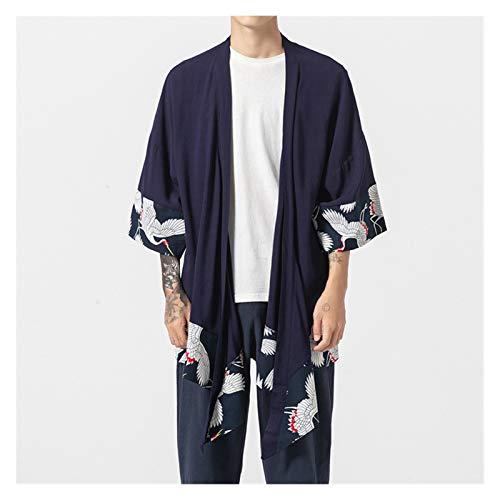 VIAIA Bordado de Gran tamao Crane Macho Japanese Kimono Robe Cardigan Algodn Lino Hanfu Ropa Yukata Haori Causal Samurai Outwear Outwear (Color : Navy Blue, Size : 5XL)