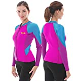 GoldFin Women's Wetsuit Top, 2mm Neoprene Wetsuit Jacket Long Sleeve Front Zip Wetsuit Shirt for Swimming Water Aerobics Diving Surfing Kayaking (Fuchsia, L)