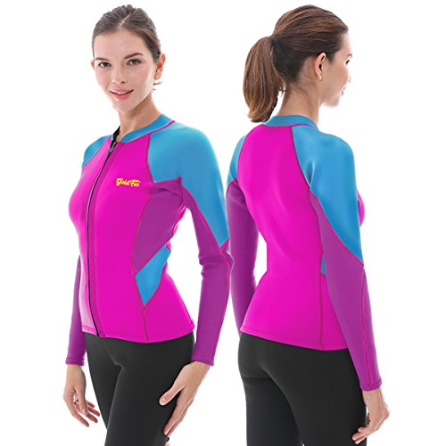 Women's Wetsuit Top, 2mm Neoprene Wetsuit Jacket Long Sleeve Front Zip Wetsuit Shirt for Swimming Water Aerobics Diving Surfing Kayaking (Fuchsia, S)
