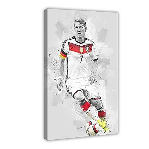 Bastian Schweinsteiger Poster mit Fußball-Star-Figur, Sport-Poster 2, Leinwand-Poster, Schlafzimmer, Dekoration, Sport-Landschaft, Büro, Raumdekoration, Geschenk-Rahmen: 60 x 90 cm