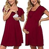 Meaneor Damen Nachthemd Schwangerschaft Stillnachthemd Kurzarm Schlafshirt Geburtskleid Krankenhaus Geburtshemd für Schwangere Herbst Winter Weinrot M