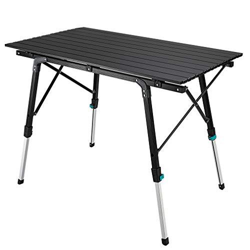 Synlyn Tragbar Campingtisch Klapptisch 90 x 52 x (45-67) cm Aluminium Camping Tisch Falttisch Reisetisch für Camping Outdoor Picknick BBQ Wandern Reise Angeln - Silber, Schwarz