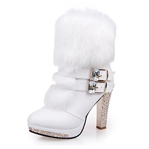 Caddy Wolfclaw Women Luxury Platform Mid Calf Boots Fur Lined Buckle Snow Boots Waterproof Low Heel Winter Boots