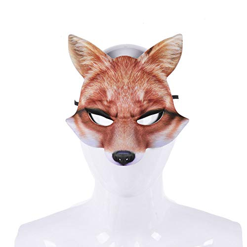 Sxgyubt Masker Halloween Party Unieke Volwassen Party Masquerade Half Gezicht 3D Vos Realistische Animal Mask Rol Spelen Plezier Halloween Party Decoratie Eva Geel Vos Masker
