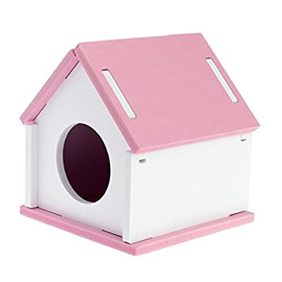 ZOOMY Hamster Sleeping House Cage Wood Bed Nest Cage Toy for Small Animal Pet Guinea Pig Squirrel Gerbil-Pink by ZOOMY