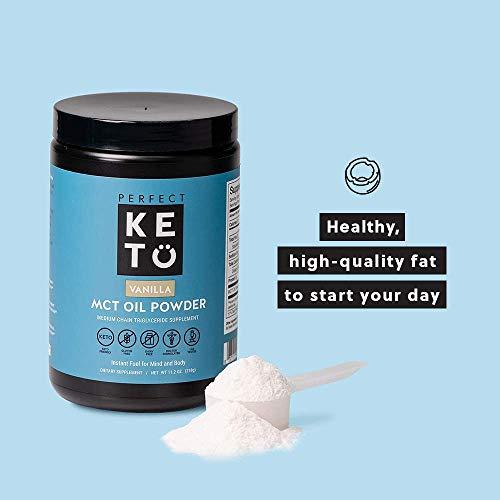 Perfect Keto MCT Oil Powder: Ketosis Supplement (Medium Chain Triglycerides, Coconuts) for Ketone Energy. Paleo Natural Non Dairy Ketogenic Keto Coffee Creamer (Vanilla)
