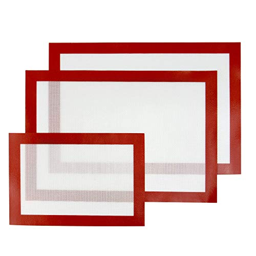 Ensemble de 3 feuilles de tapis de cuisson en silicone assortis | Plats de cuisson réutilisables antiadhésifs | Polyvalent pour four et micro-ondes | Sans BPA | M&W