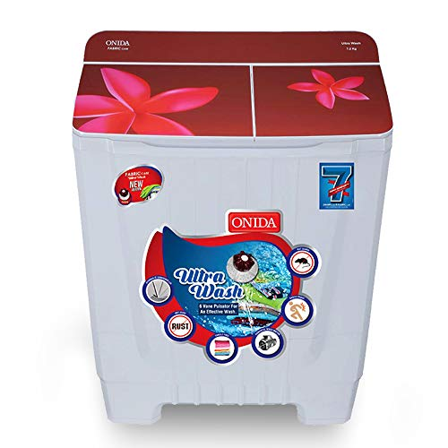 Onida 7.2 kg Ultra Wash, Hydraulic Designer Glass Lid Semi Automatic Top Load Washing Machine (S72GS)